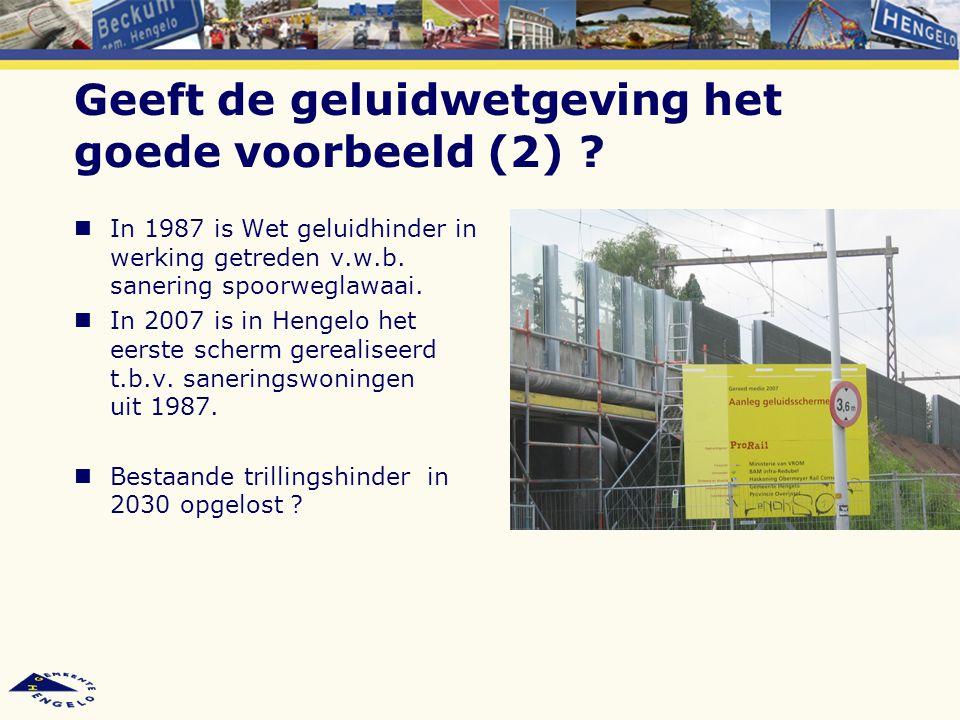 Geeft de geluidwetgeving het goede voorbeeld (2) ? In 1987 is Wet geluidhinder in werking getreden v.w.b. sanering spoorweglawaai. In 2007 is in Henge