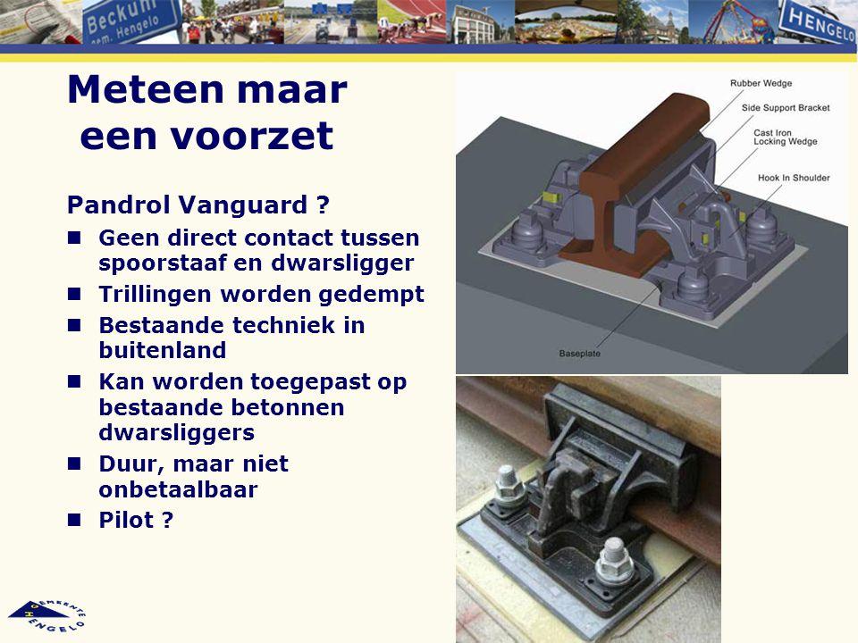 Meteen maar een voorzet Pandrol Vanguard ? Geen direct contact tussen spoorstaaf en dwarsligger Trillingen worden gedempt Bestaande techniek in buiten