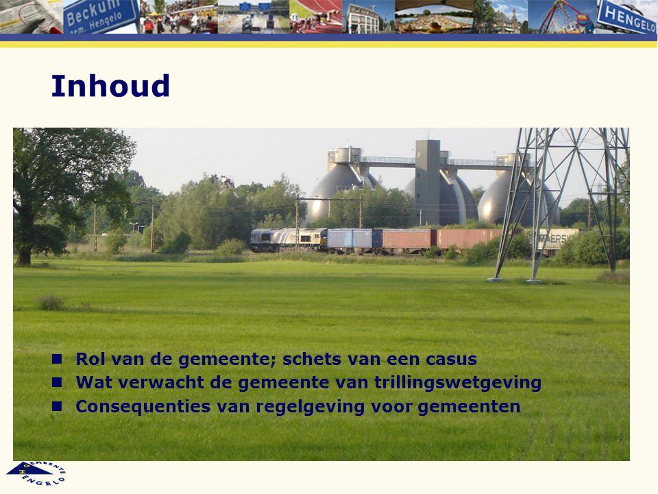 NaNOV (Na de NoordOostelijkeVerbinding) jaren '90 vorige eeuw: MER/Trajectstudie naar Noordoostelijke aftakking van de Betuweroute 1999, minister: noordoostelijke verbinding gaat niet door; goederen via bestaand spoor: IJssellijn en Twentelijn (= Elst–Arnhem–Deventer–Oldenzaal) prognose destijds: 21 goederentreinen in 2015) Mogelijke trillingshinder voorzien, daarom in 2000 per brief aan de Kamer toezegging voor: –nulmeting (uitgevoerd in 2002) –herhalingsmeting na ingebruikneming Betuweroute (uitgevoerd februari 2011)