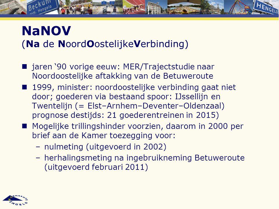 NaNOV (Na de NoordOostelijkeVerbinding) jaren '90 vorige eeuw: MER/Trajectstudie naar Noordoostelijke aftakking van de Betuweroute 1999, minister: noo