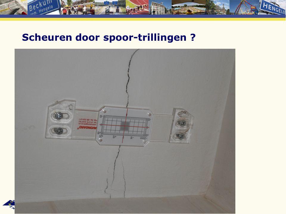 Trillingsmetingen in 2008 (opdrachtgevers: gemeente Hengelo en Vrom-inspectie) Geen schade (kans op schade ruim kleiner dan 1%) Bij alle meetlocaties sprake van hinder (ironie: in het huis met de meeste scheuren het minste hinder)