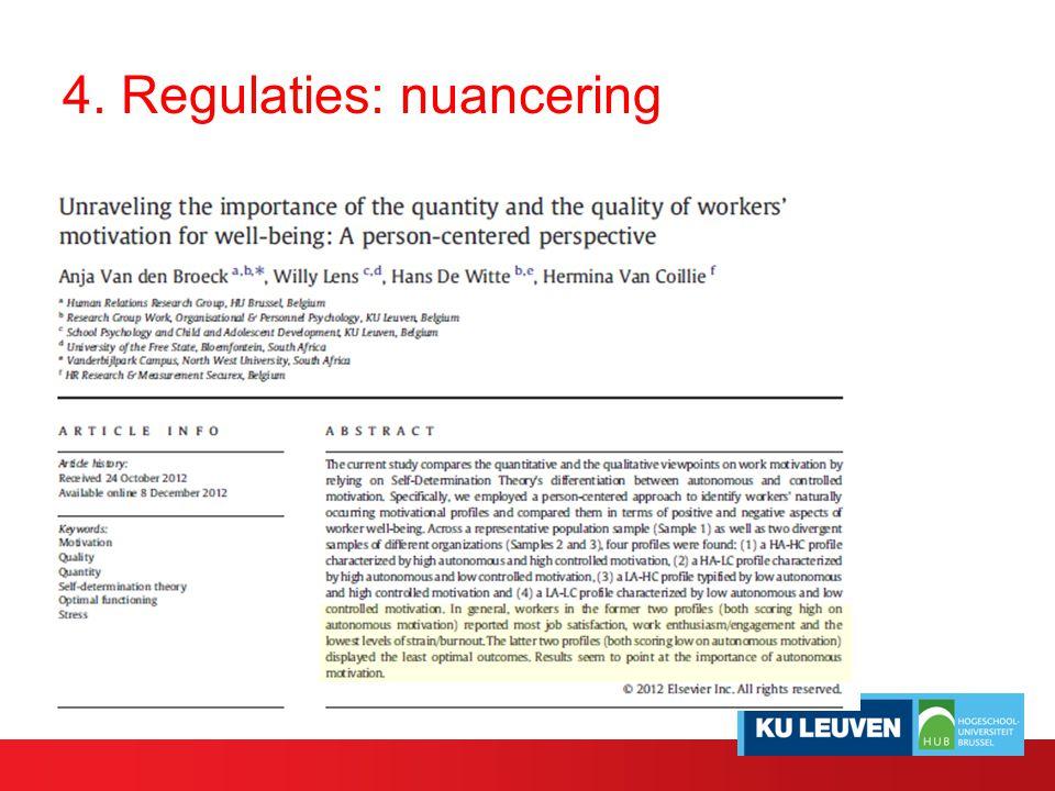 4. Regulaties: nuancering