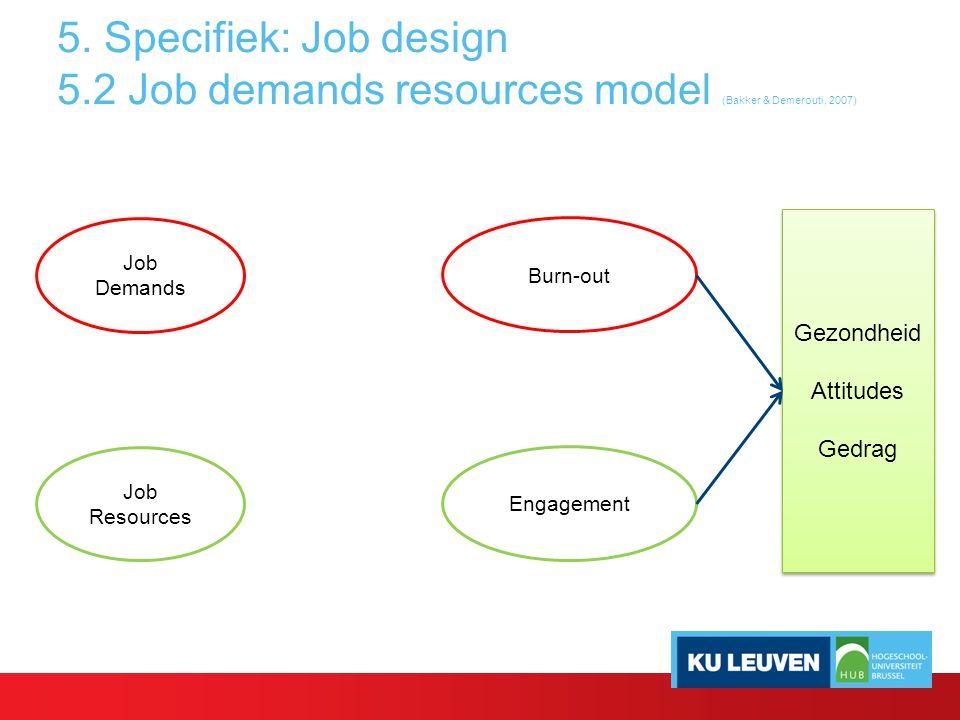 5. Specifiek: Job design 5.2 Job demands resources model (Bakker & Demerouti, 2007) Job Demands Job Resources Burn-out Engagement Gezondheid Attitudes