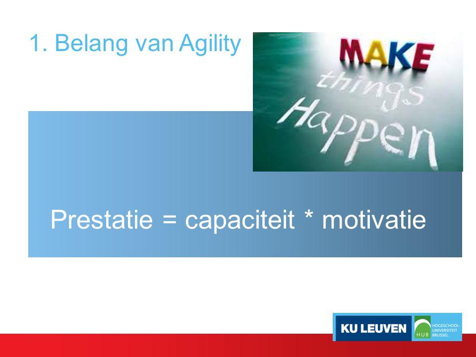 1. Belang van Agility Prestatie = capaciteit * motivatie
