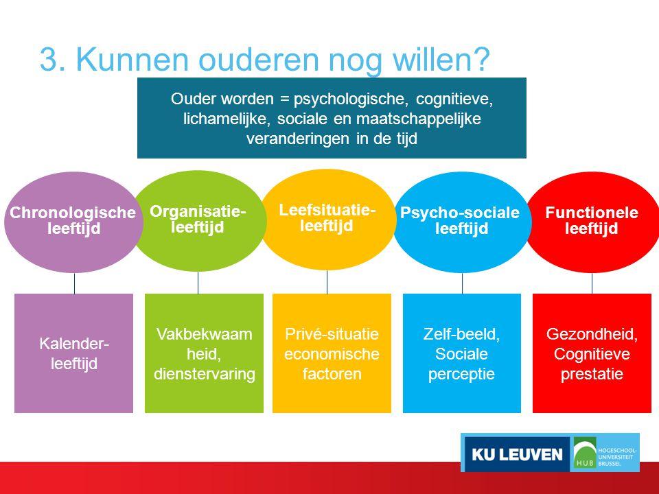 3. Kunnen ouderen nog willen? Ouder worden = psychologische, cognitieve, lichamelijke, sociale en maatschappelijke veranderingen in de tijd Functionel