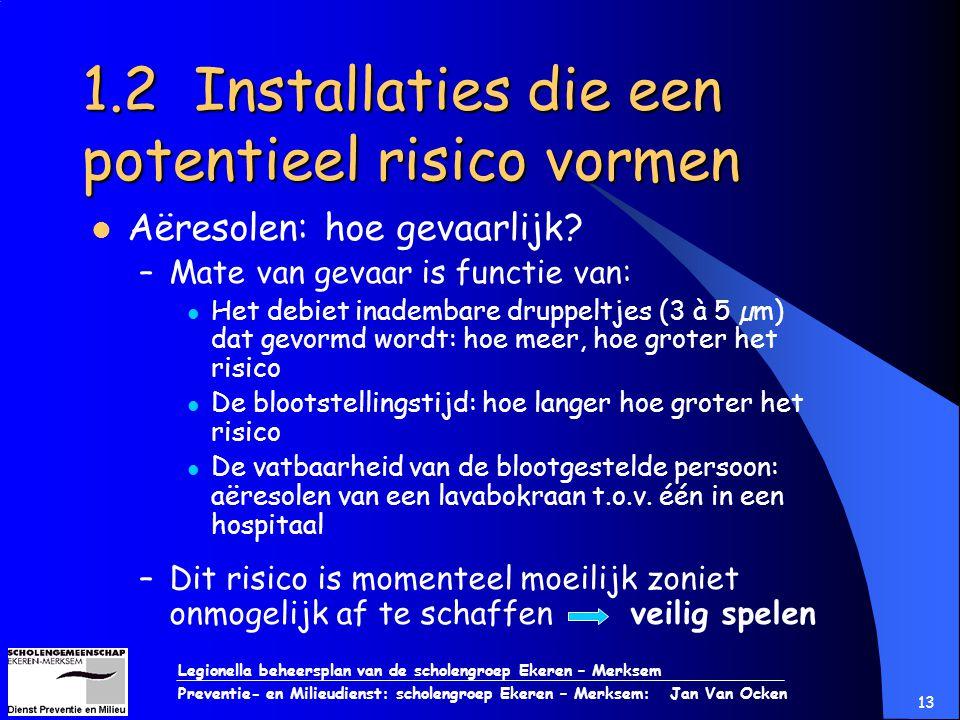 Legionella beheersplan van de scholengroep Ekeren – Merksem Preventie- en Milieudienst: scholengroep Ekeren – Merksem: Jan Van Ocken 13 1.2 Installati