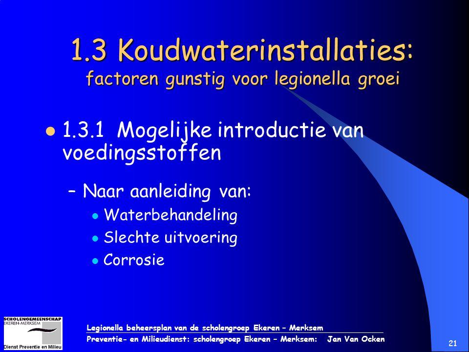 Legionella beheersplan van de scholengroep Ekeren – Merksem Preventie- en Milieudienst: scholengroep Ekeren – Merksem: Jan Van Ocken 21 1.3 Koudwateri