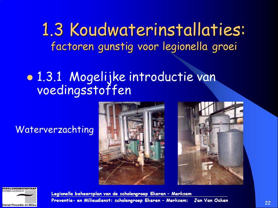 Legionella beheersplan van de scholengroep Ekeren – Merksem Preventie- en Milieudienst: scholengroep Ekeren – Merksem: Jan Van Ocken 22 1.3 Koudwateri