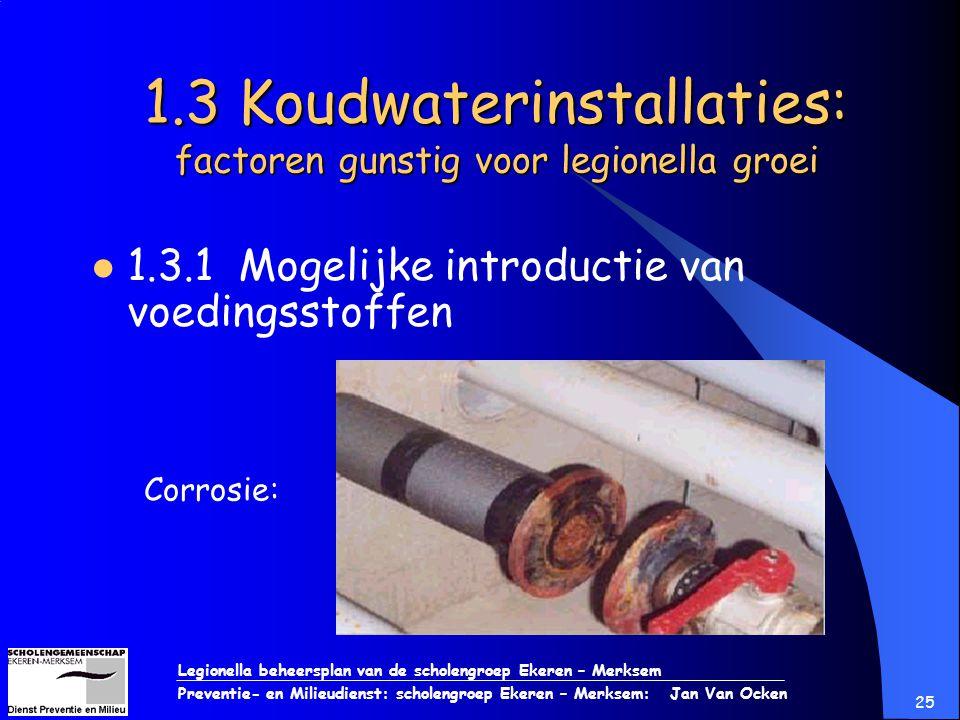 Legionella beheersplan van de scholengroep Ekeren – Merksem Preventie- en Milieudienst: scholengroep Ekeren – Merksem: Jan Van Ocken 25 1.3 Koudwateri