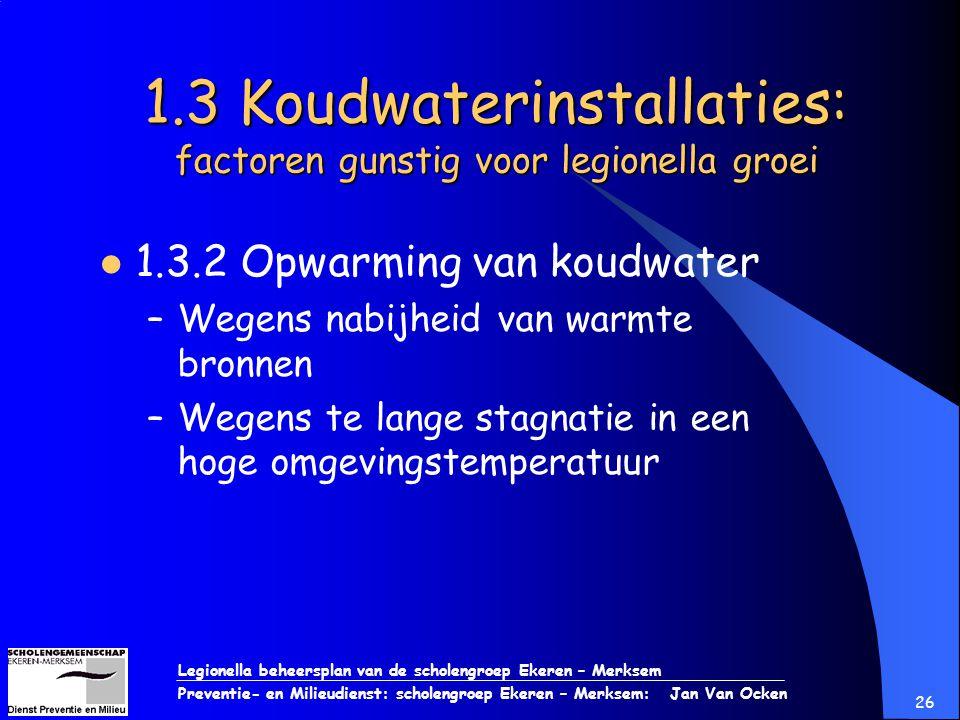 Legionella beheersplan van de scholengroep Ekeren – Merksem Preventie- en Milieudienst: scholengroep Ekeren – Merksem: Jan Van Ocken 26 1.3 Koudwateri