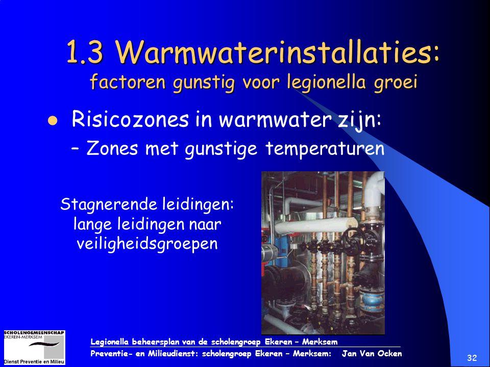 Legionella beheersplan van de scholengroep Ekeren – Merksem Preventie- en Milieudienst: scholengroep Ekeren – Merksem: Jan Van Ocken 32 1.3 Warmwateri
