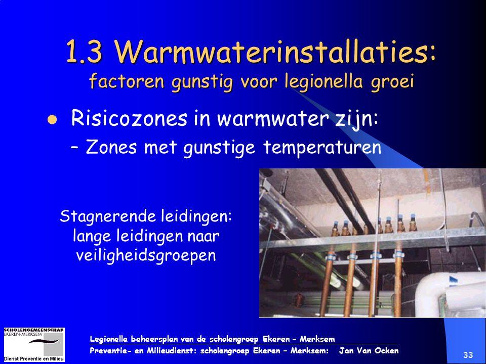 Legionella beheersplan van de scholengroep Ekeren – Merksem Preventie- en Milieudienst: scholengroep Ekeren – Merksem: Jan Van Ocken 33 1.3 Warmwateri