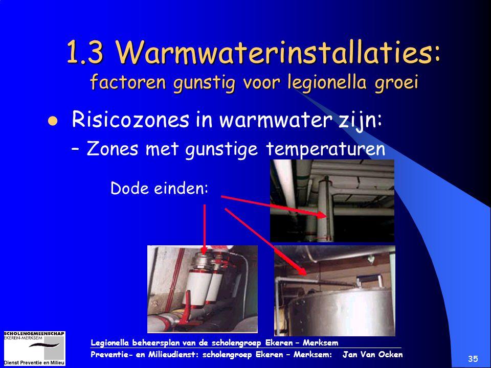 Legionella beheersplan van de scholengroep Ekeren – Merksem Preventie- en Milieudienst: scholengroep Ekeren – Merksem: Jan Van Ocken 35 1.3 Warmwateri