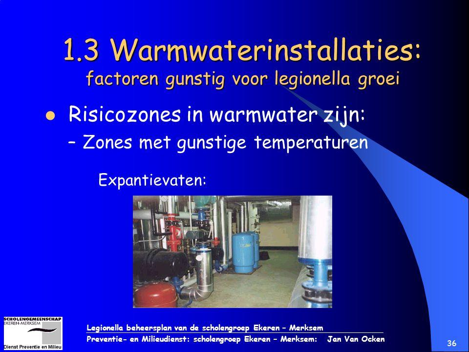 Legionella beheersplan van de scholengroep Ekeren – Merksem Preventie- en Milieudienst: scholengroep Ekeren – Merksem: Jan Van Ocken 36 1.3 Warmwateri