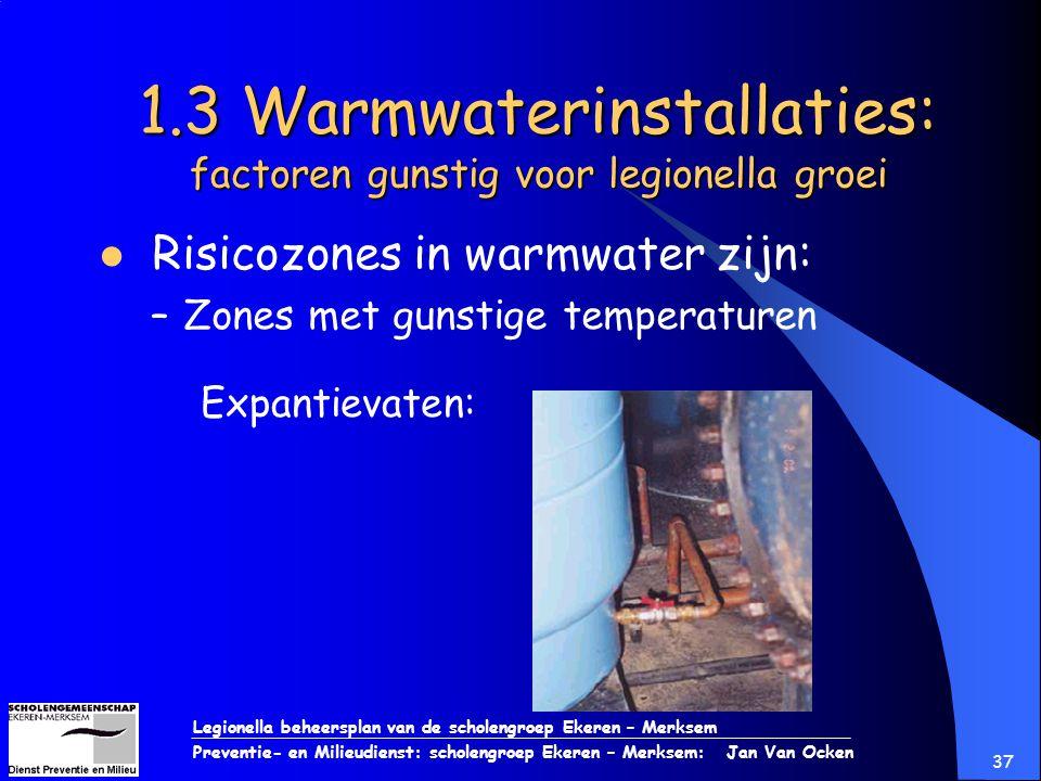 Legionella beheersplan van de scholengroep Ekeren – Merksem Preventie- en Milieudienst: scholengroep Ekeren – Merksem: Jan Van Ocken 37 1.3 Warmwateri