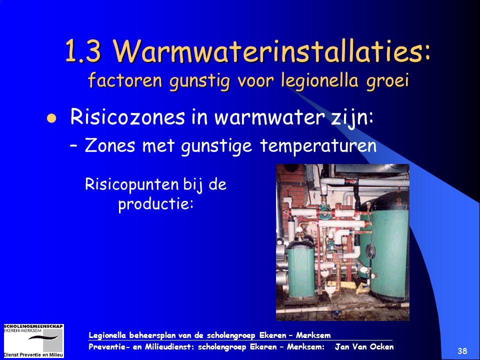 Legionella beheersplan van de scholengroep Ekeren – Merksem Preventie- en Milieudienst: scholengroep Ekeren – Merksem: Jan Van Ocken 38 1.3 Warmwateri