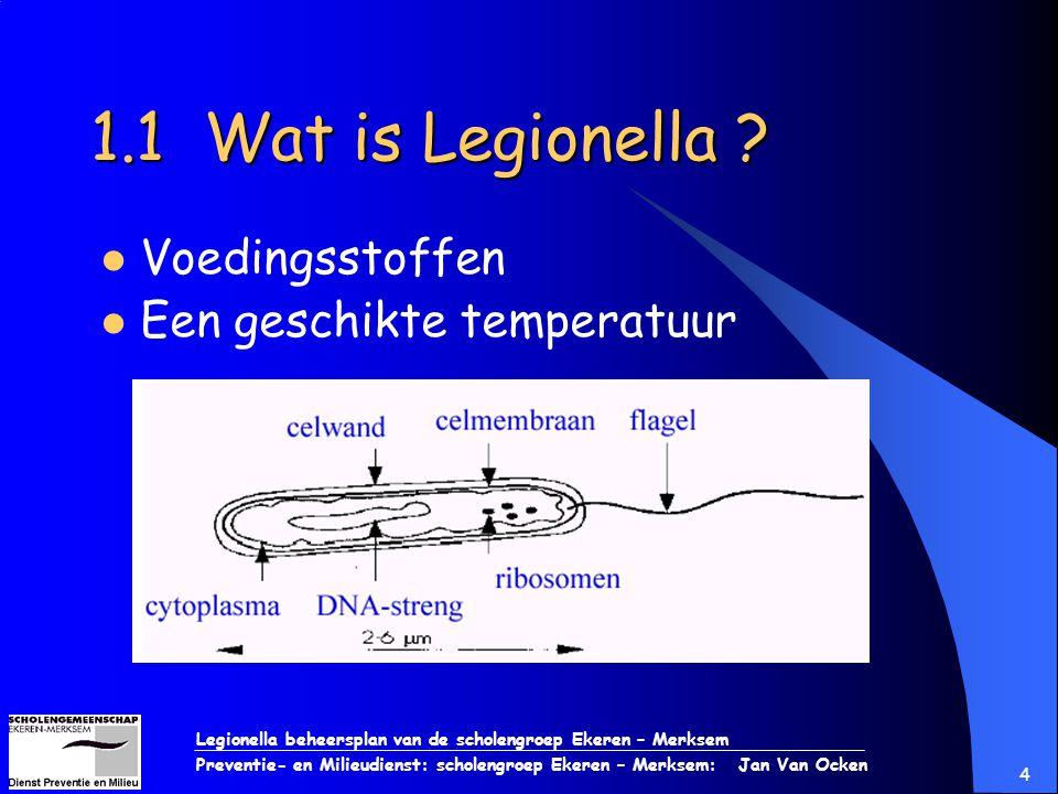 Legionella beheersplan van de scholengroep Ekeren – Merksem Preventie- en Milieudienst: scholengroep Ekeren – Merksem: Jan Van Ocken 4 1.1 Wat is Legi