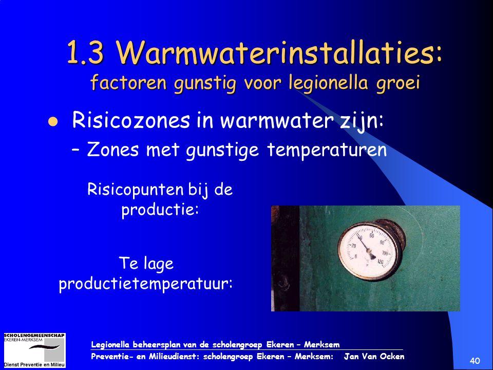 Legionella beheersplan van de scholengroep Ekeren – Merksem Preventie- en Milieudienst: scholengroep Ekeren – Merksem: Jan Van Ocken 40 1.3 Warmwateri
