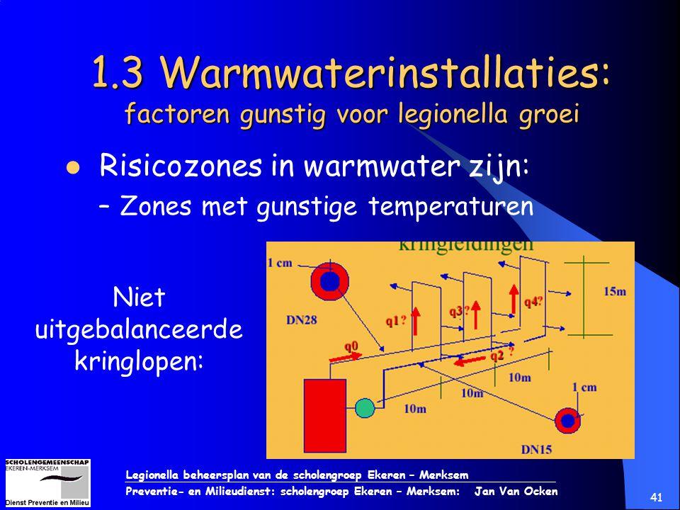 Legionella beheersplan van de scholengroep Ekeren – Merksem Preventie- en Milieudienst: scholengroep Ekeren – Merksem: Jan Van Ocken 41 1.3 Warmwateri