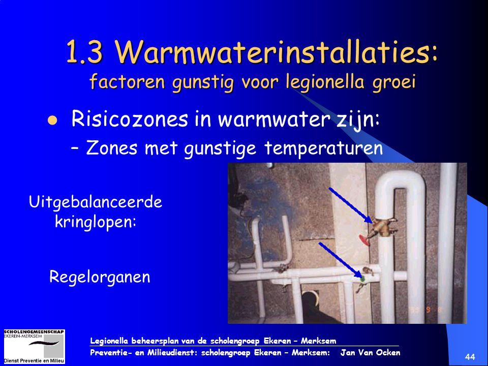 Legionella beheersplan van de scholengroep Ekeren – Merksem Preventie- en Milieudienst: scholengroep Ekeren – Merksem: Jan Van Ocken 44 1.3 Warmwateri