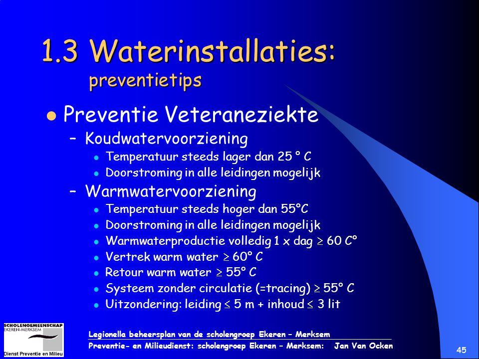 Legionella beheersplan van de scholengroep Ekeren – Merksem Preventie- en Milieudienst: scholengroep Ekeren – Merksem: Jan Van Ocken 45 1.3 Waterinsta