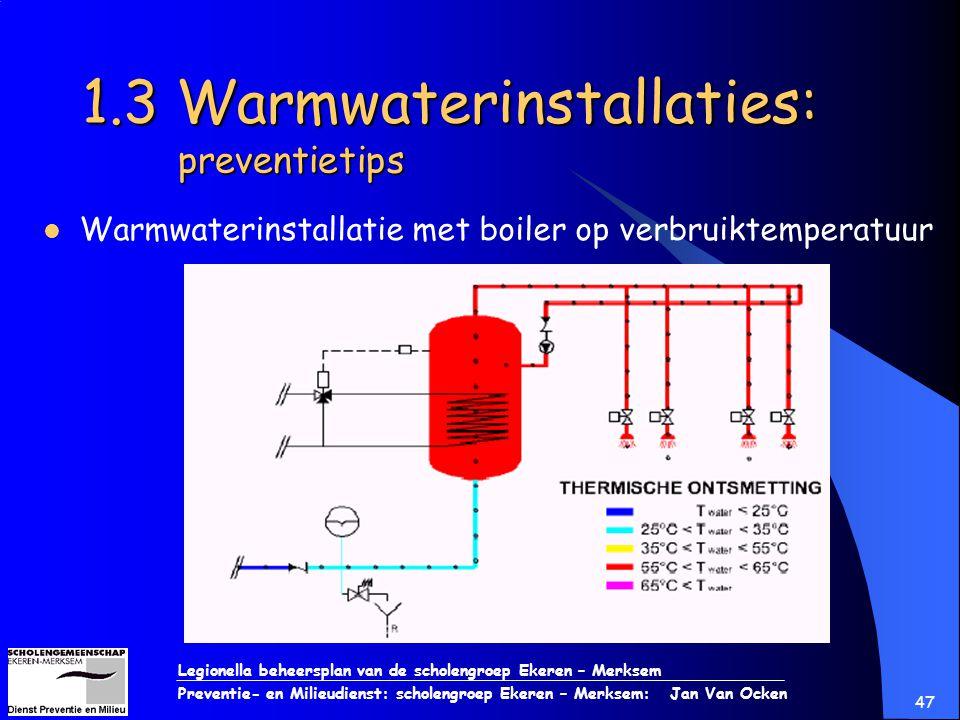 Legionella beheersplan van de scholengroep Ekeren – Merksem Preventie- en Milieudienst: scholengroep Ekeren – Merksem: Jan Van Ocken 47 1.3 Warmwateri