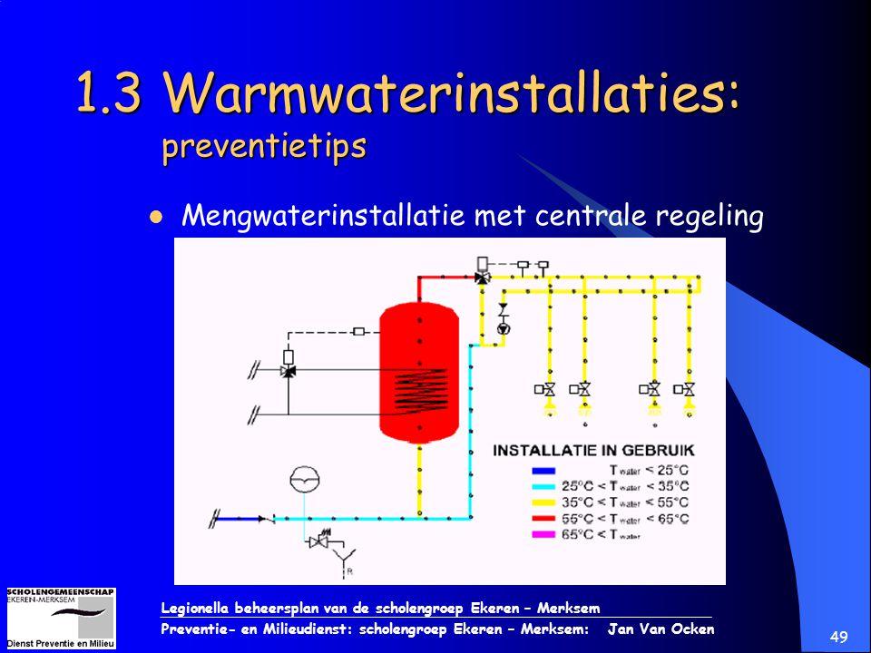 Legionella beheersplan van de scholengroep Ekeren – Merksem Preventie- en Milieudienst: scholengroep Ekeren – Merksem: Jan Van Ocken 49 1.3 Warmwateri
