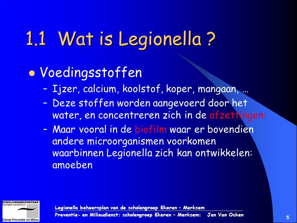 Legionella beheersplan van de scholengroep Ekeren – Merksem Preventie- en Milieudienst: scholengroep Ekeren – Merksem: Jan Van Ocken 5 1.1 Wat is Legi