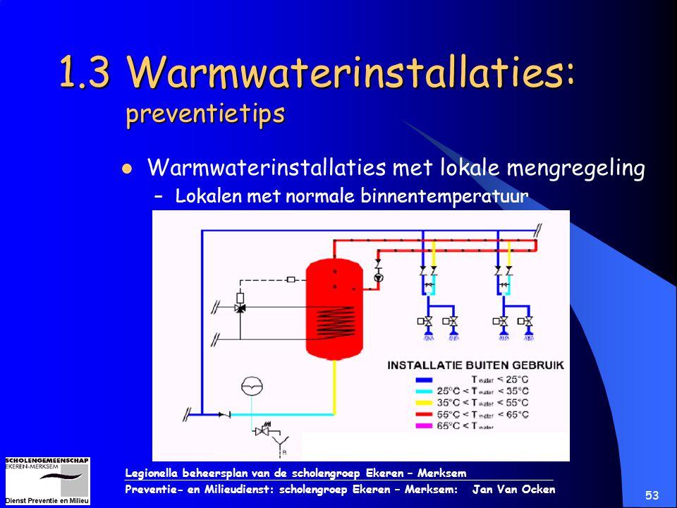 Legionella beheersplan van de scholengroep Ekeren – Merksem Preventie- en Milieudienst: scholengroep Ekeren – Merksem: Jan Van Ocken 53 1.3 Warmwateri