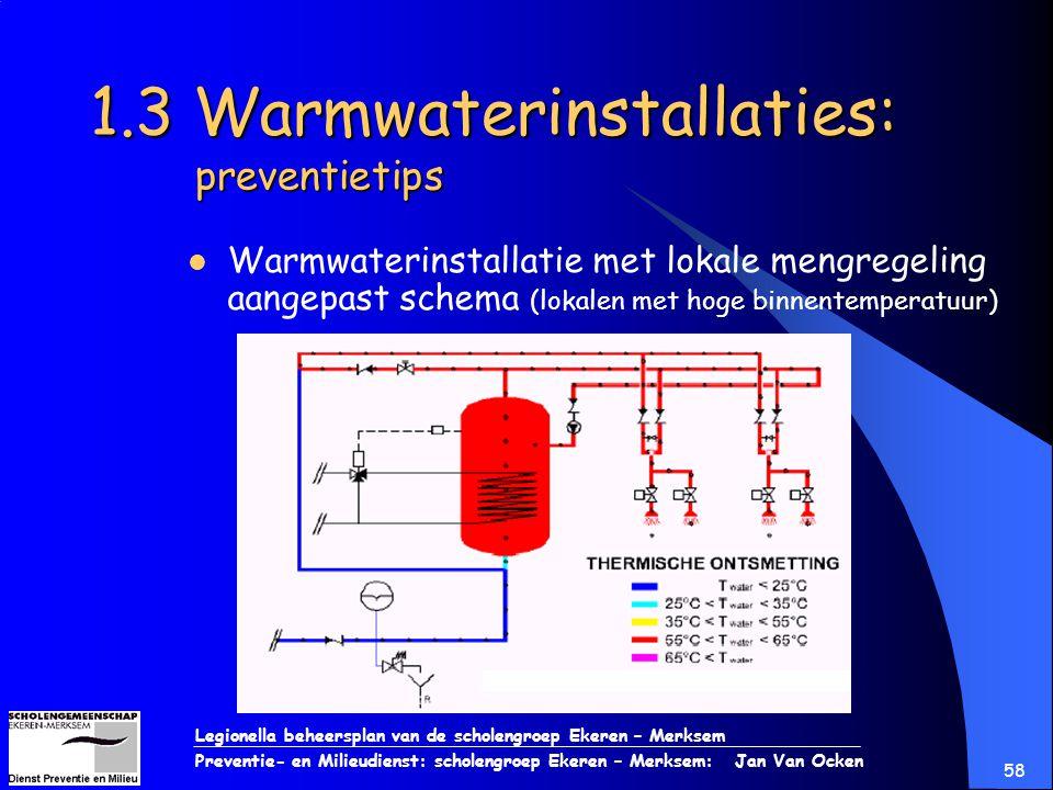 Legionella beheersplan van de scholengroep Ekeren – Merksem Preventie- en Milieudienst: scholengroep Ekeren – Merksem: Jan Van Ocken 58 1.3 Warmwateri