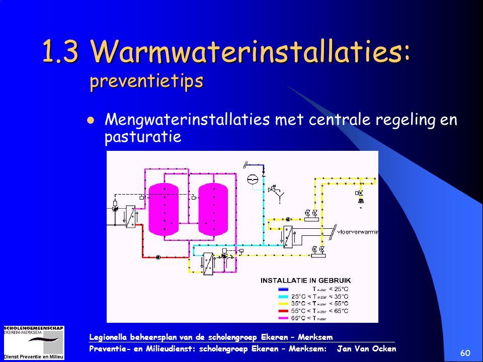 Legionella beheersplan van de scholengroep Ekeren – Merksem Preventie- en Milieudienst: scholengroep Ekeren – Merksem: Jan Van Ocken 60 1.3 Warmwateri