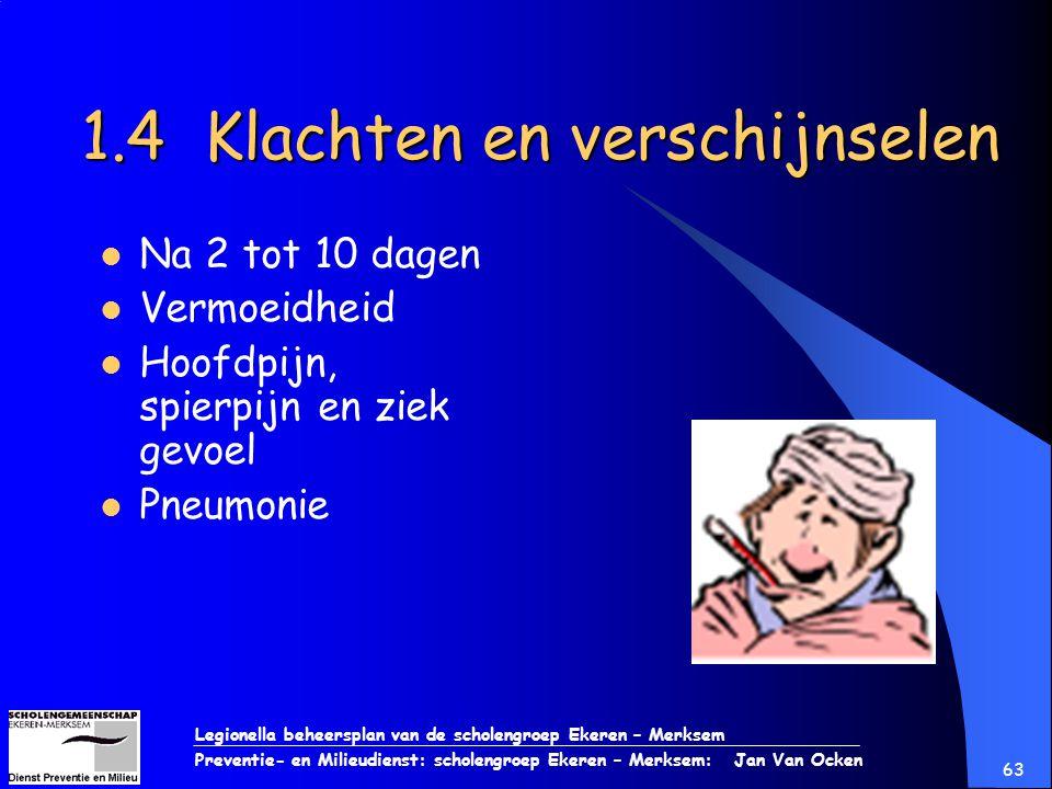 Legionella beheersplan van de scholengroep Ekeren – Merksem Preventie- en Milieudienst: scholengroep Ekeren – Merksem: Jan Van Ocken 63 1.4 Klachten e
