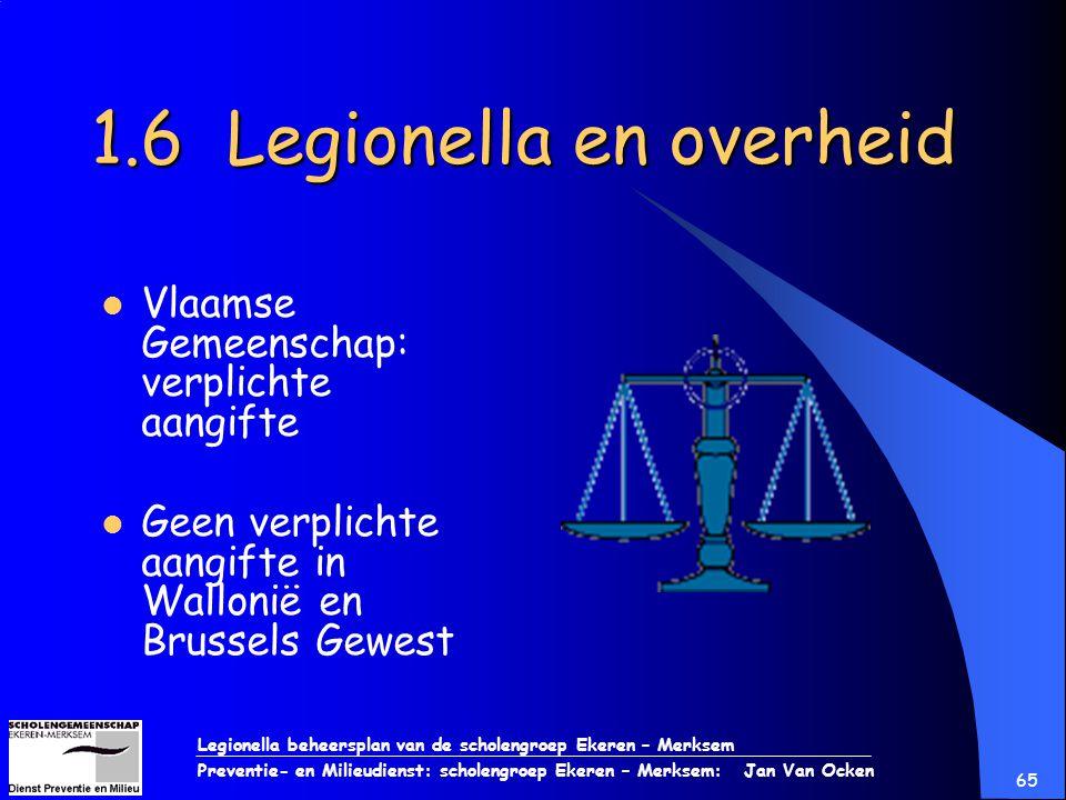Legionella beheersplan van de scholengroep Ekeren – Merksem Preventie- en Milieudienst: scholengroep Ekeren – Merksem: Jan Van Ocken 65 1.6 Legionella