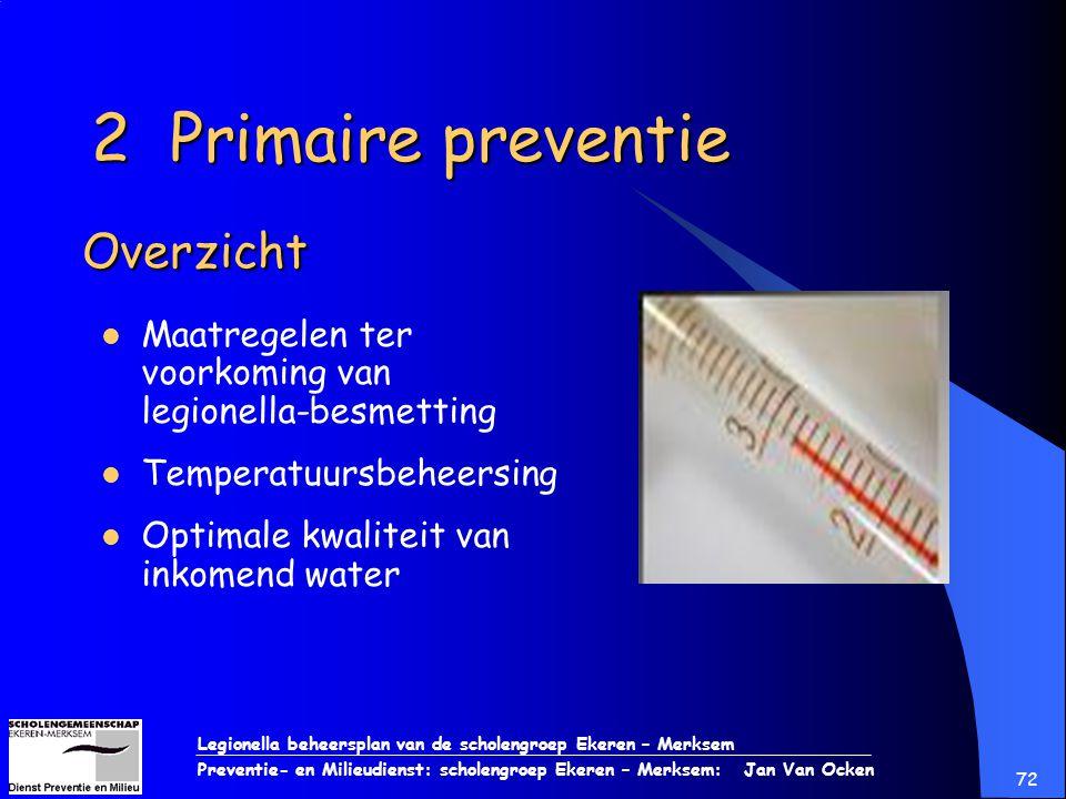 Legionella beheersplan van de scholengroep Ekeren – Merksem Preventie- en Milieudienst: scholengroep Ekeren – Merksem: Jan Van Ocken 72 Overzicht Maat