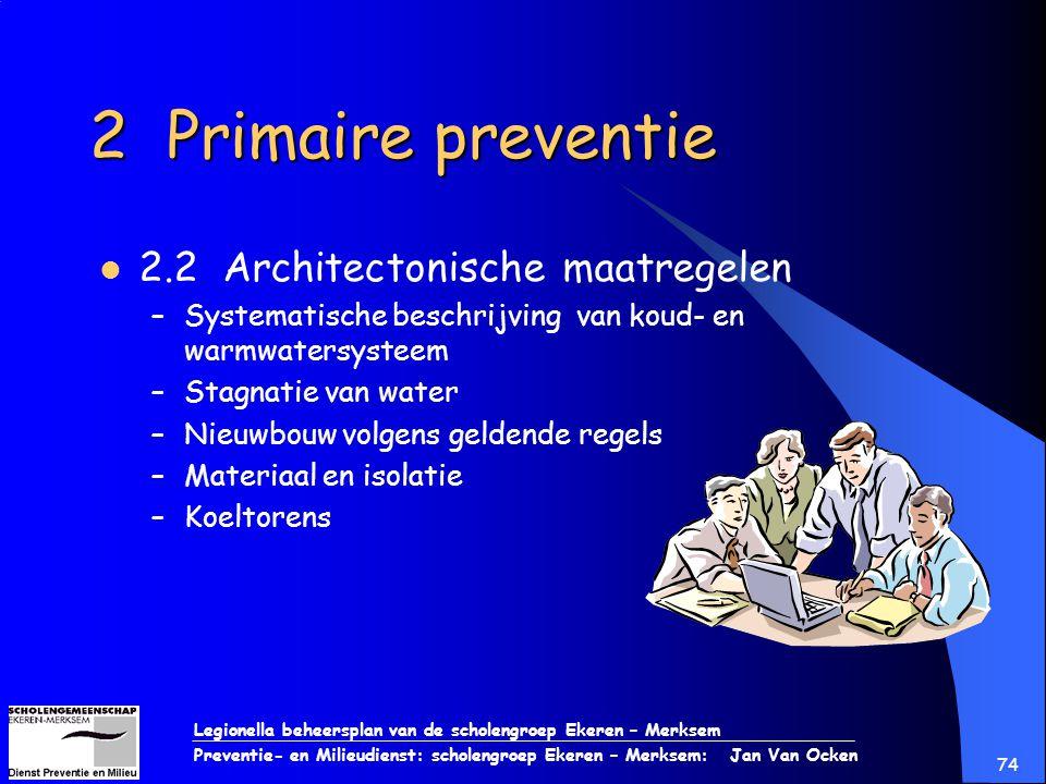 Legionella beheersplan van de scholengroep Ekeren – Merksem Preventie- en Milieudienst: scholengroep Ekeren – Merksem: Jan Van Ocken 74 2 Primaire pre