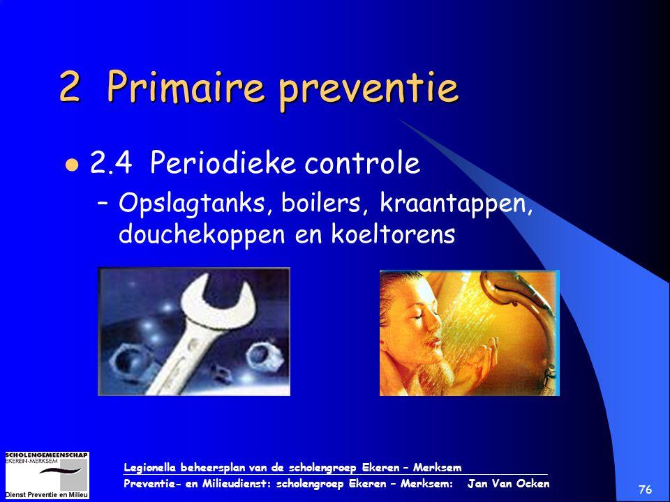 Legionella beheersplan van de scholengroep Ekeren – Merksem Preventie- en Milieudienst: scholengroep Ekeren – Merksem: Jan Van Ocken 76 2 Primaire pre