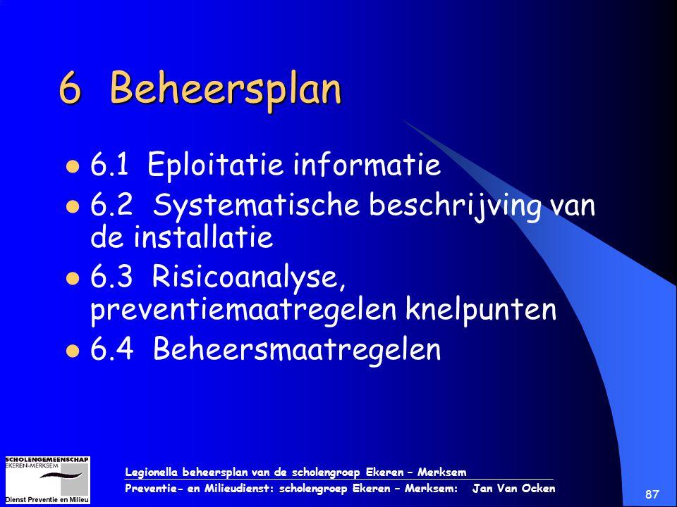 Legionella beheersplan van de scholengroep Ekeren – Merksem Preventie- en Milieudienst: scholengroep Ekeren – Merksem: Jan Van Ocken 87 6 Beheersplan