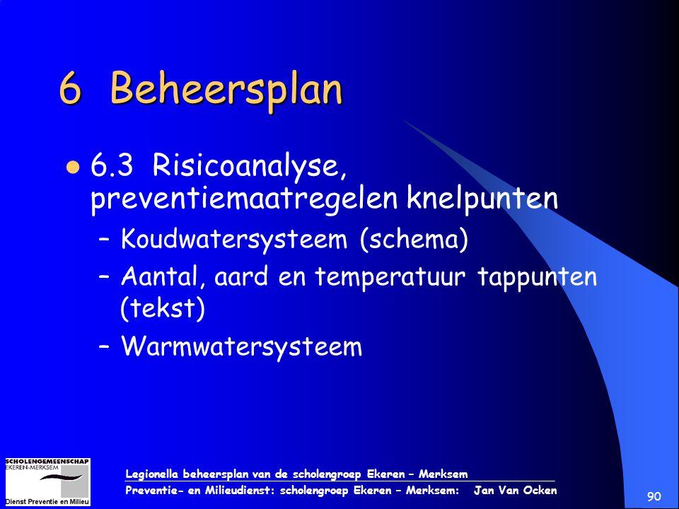 Legionella beheersplan van de scholengroep Ekeren – Merksem Preventie- en Milieudienst: scholengroep Ekeren – Merksem: Jan Van Ocken 90 6 Beheersplan