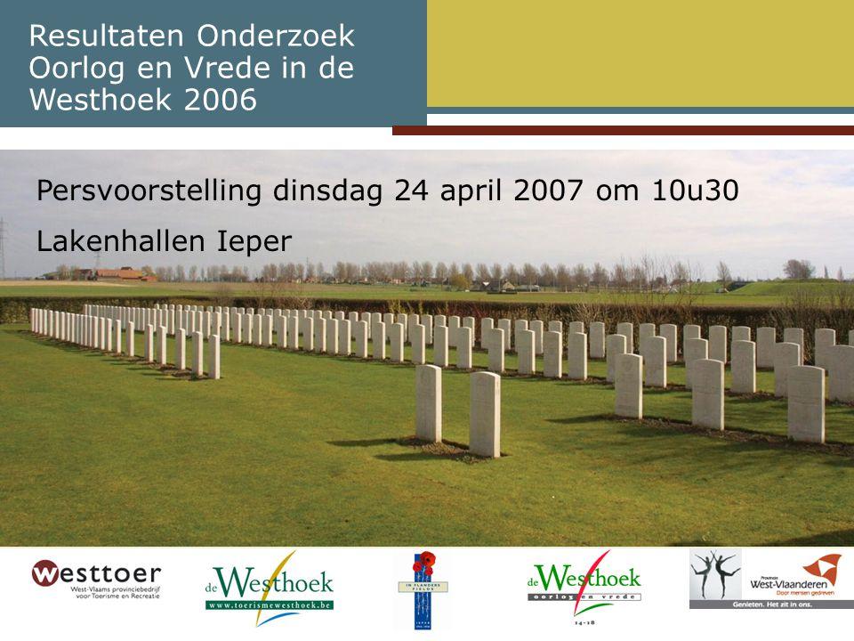 Conclusies rond WOI-toerisme Oorlog en Vrede in de Westhoek 2006 (3) WOI-toerisme heeft 4 toplocaties met meer dan 100.000 bezoekers –Tyne Cot Cemetery en Memorial (Passendale) –Menenpoort met 'Last Post' ceremonie (Ieper) –In Flanders Fields Museum (Ieper) –Duitse begraafplaats in Langemark Daarnaast ook 8 WOI-sites met meer dan 50.000 bezoekers