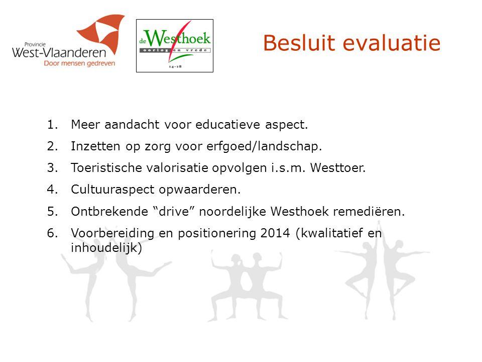 Besluit evaluatie 1.Meer aandacht voor educatieve aspect. 2.Inzetten op zorg voor erfgoed/landschap. 3.Toeristische valorisatie opvolgen i.s.m. Westto
