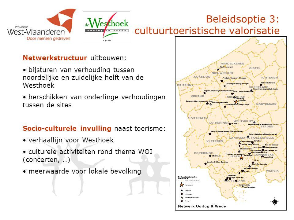 Beleidsoptie 3: cultuurtoeristische valorisatie Netwerkstructuur uitbouwen: bijsturen van verhouding tussen noordelijke en zuidelijke helft van de Wes