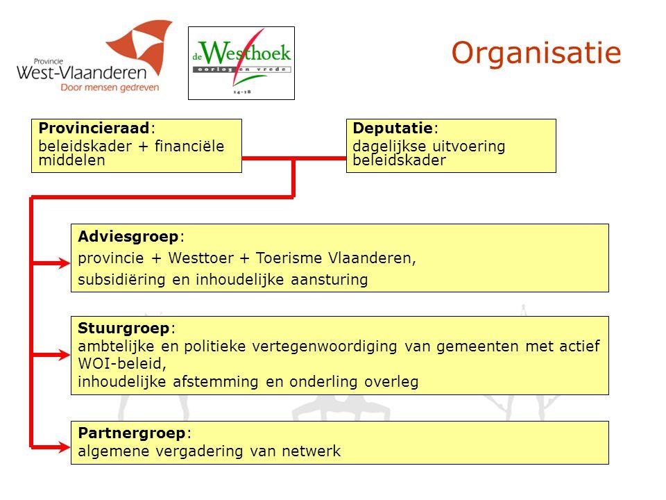 Organisatie Provincieraad: beleidskader + financiële middelen Deputatie: dagelijkse uitvoering beleidskader Adviesgroep: provincie + Westtoer + Toeris