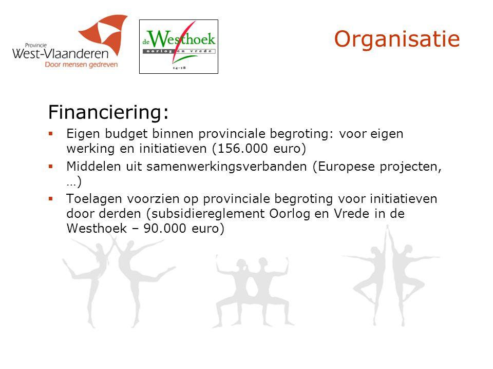 Organisatie Financiering:  Eigen budget binnen provinciale begroting: voor eigen werking en initiatieven (156.000 euro)  Middelen uit samenwerkingsv