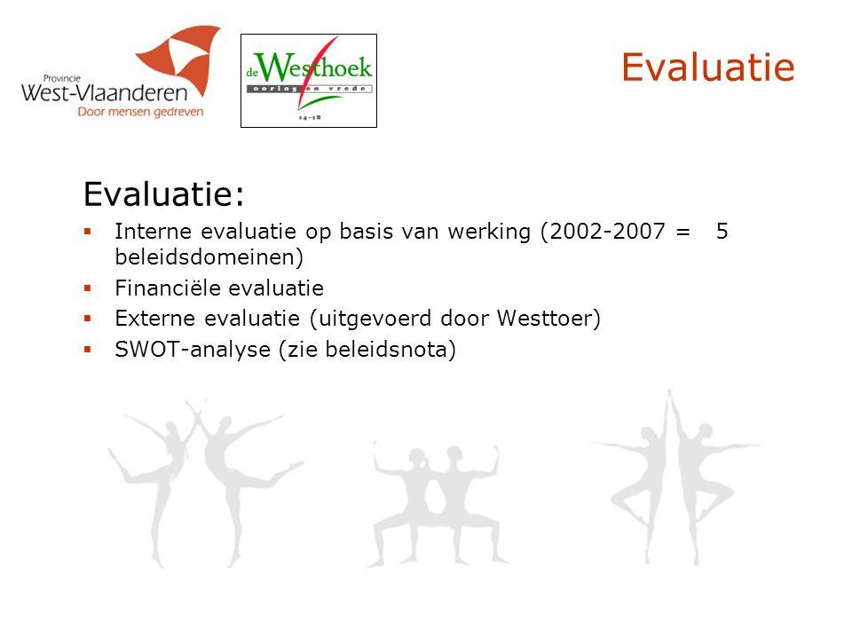 Evaluatie Evaluatie:  Interne evaluatie op basis van werking (2002-2007 = 5 beleidsdomeinen)  Financiële evaluatie  Externe evaluatie (uitgevoerd door Westtoer)  SWOT-analyse (zie beleidsnota)