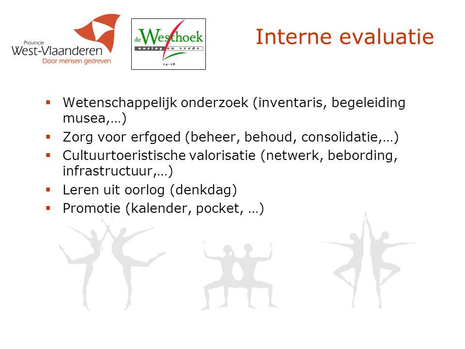 Interne evaluatie  Wetenschappelijk onderzoek (inventaris, begeleiding musea,…)  Zorg voor erfgoed (beheer, behoud, consolidatie,…)  Cultuurtoerist
