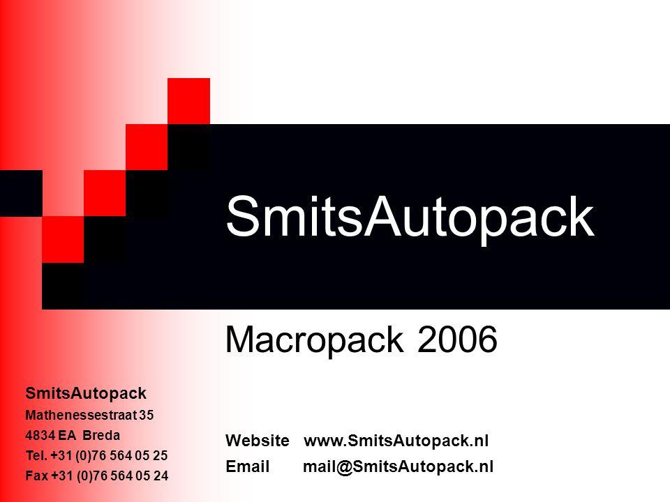 SmitsAutopack Macropack 2006 SmitsAutopack Mathenessestraat 35 4834 EA Breda Tel. +31 (0)76 564 05 25 Fax +31 (0)76 564 05 24 Website www.SmitsAutopac