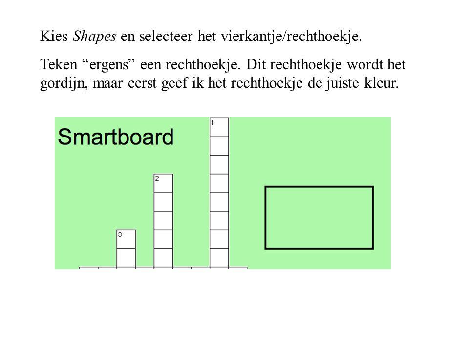 """Kies Shapes en selecteer het vierkantje/rechthoekje. Teken """"ergens"""" een rechthoekje. Dit rechthoekje wordt het gordijn, maar eerst geef ik het rechtho"""