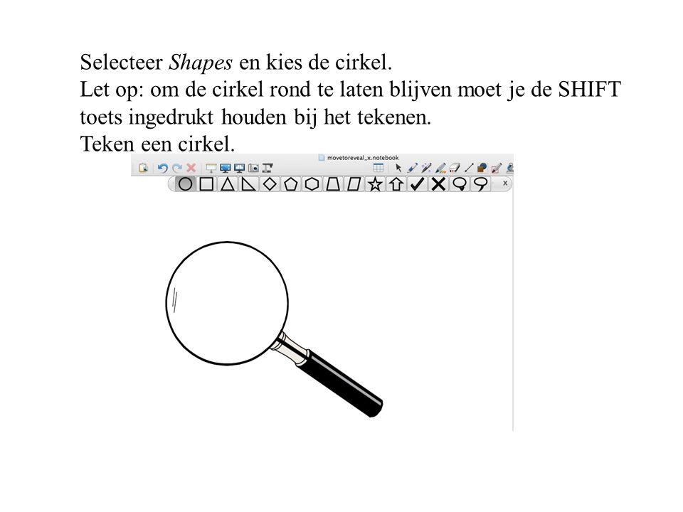 Selecteer Shapes en kies de cirkel. Let op: om de cirkel rond te laten blijven moet je de SHIFT toets ingedrukt houden bij het tekenen. Teken een cirk