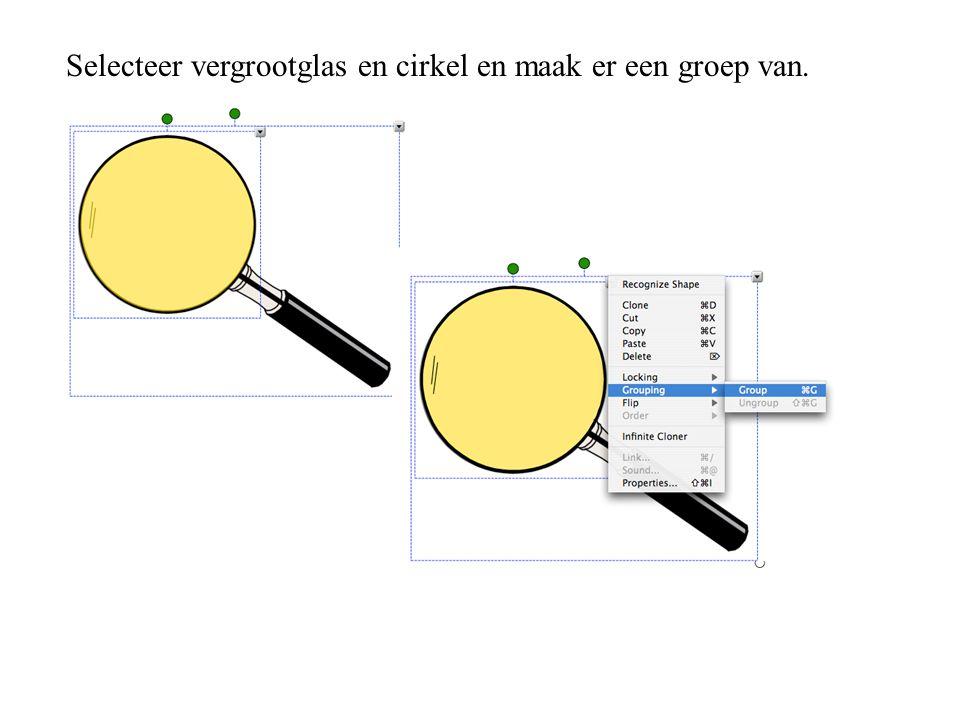 Selecteer vergrootglas en cirkel en maak er een groep van.