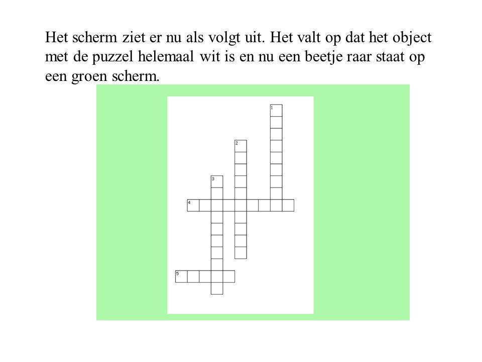 Het scherm ziet er nu als volgt uit. Het valt op dat het object met de puzzel helemaal wit is en nu een beetje raar staat op een groen scherm.